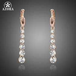 AZORA Rose Gold Color Row String White Austrian Rhinestone Drop Earrings TE0220