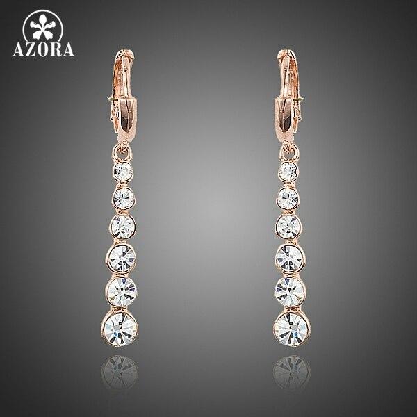 AZORA Rose Gold Color Row String White Austrian Rhinestone Drop Earrings  TE0220 2b19c528c801