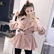 95992b4d1c0 Сладкий Для женщин розовый Шерстяное пальто женские элегантные девушки шерстяные  смеси Для женщин s Повседневное тонкий Фонари р.