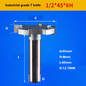 Image 4 - 1 / 2 inch 4T oder 6T holzbearbeitung router bit hartmetall T typ cutter holz carving werkzeuge holzbearbeitung werkzeuge messer