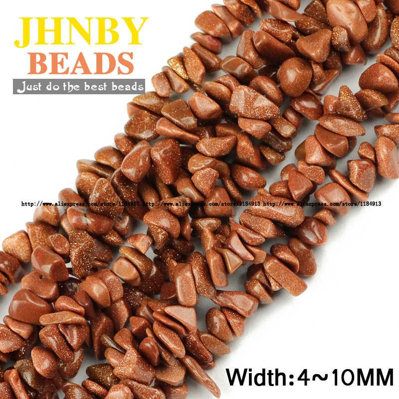 JHNBY זהב אבן חול חצץ סדיר חרוזים למעלה איכות טבעי אבן 85cm צורה חופשית שבבי Loose חרוזים תכשיטי צמיד ביצוע
