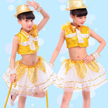 Boy and Girl Jazz dance Shining Clothes Children Dance Costu