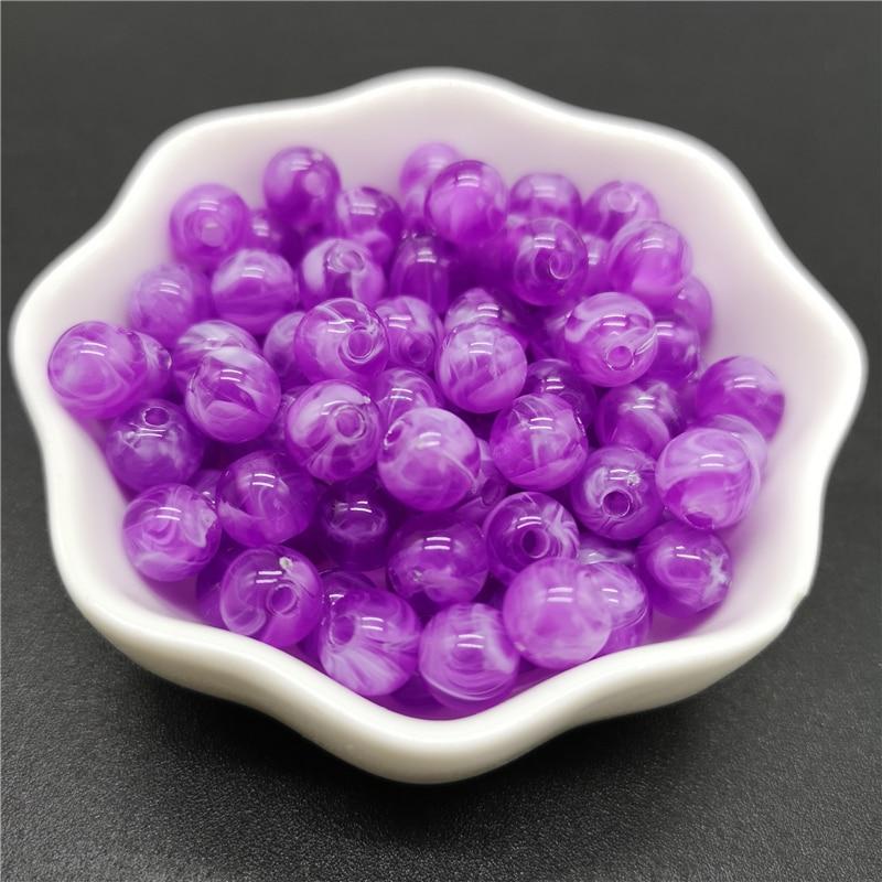 6, 8, 10 мм, Имитация натурального камня, круглые акриловые бусины с эффектом облаков, бусины для изготовления ювелирных изделий, браслет, ожерелье, аксессуары DIY - Цвет: 16-Purple