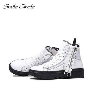 Image 4 - Gülümseme daire kış ayakkabı kadın yüksek top tıknaz ayakkabı kalın alt düz platform ayakkabılar kış sıcak peluş ayakkabı yüksek kaliteli