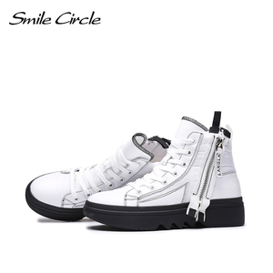 Image 4 - Smile Circle Winter Sneakers Women High top chunky Shoes Thick bottom Flat platform Shoes Winter Warm plush Shoes High quality