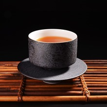 300ML White/Black Handmade Traditional Chinese Style Round Ceramic Kungfu Tea Cup With Saucer Handpainted with Gift Box