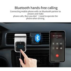 Image 4 - Trasmettitore FM Del Telefono a mani libere di trasporto Tasto di Tocco Auto MP3 LED Bluetooth Car Kit Vivavoce Lettore MP3 Radio Adattatore USB caricabatteria Da auto