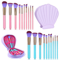 Lovely 10pcs Travel PU Shell Bag Brush Package High Quality Wooden Powder Eyeshadow Contour Cosmetic Brush