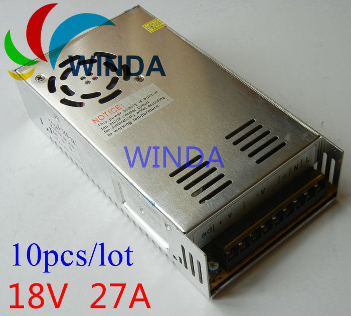 486W switching power supply output 18V 27A built-in cooling DC fan security full range DC transformer 110V 220V 10pcs цена и фото