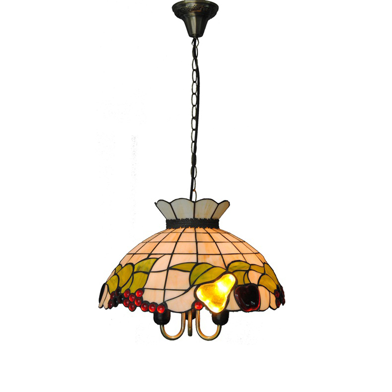 Tiffany Style Baroque Fruits Stained Glass Hanging Lamp 3 Lights European Shell Pendant Light Bar Cafe Restaurant Lighting PL615 tiffany mediterranean style natural shell pendant lights art creative stained glass night light bar balcony home lighting pl657