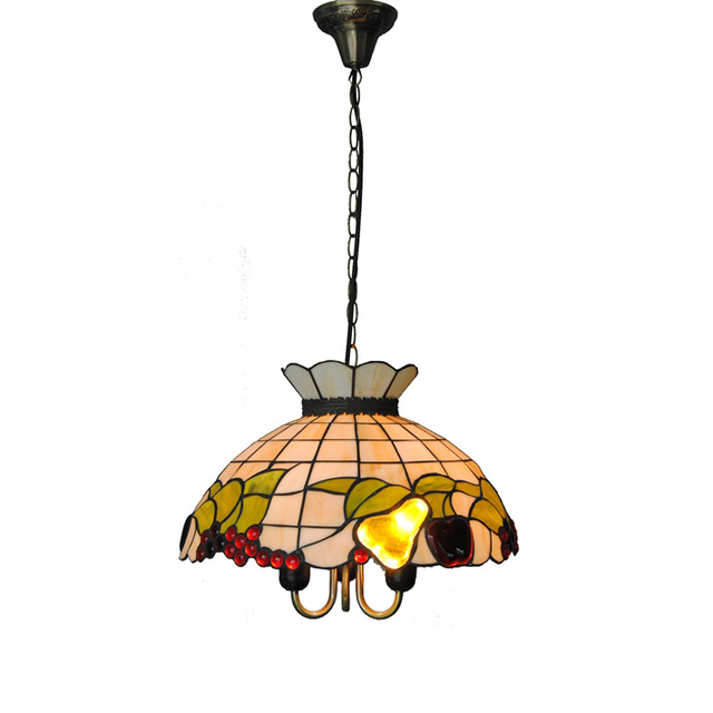 Tiffany style baroque fruits stained glass hanging lamp 3 lights tiffany style baroque fruits stained glass hanging lamp 3 lights european shell pendant light bar cafe mozeypictures Gallery