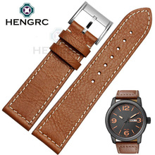 HENGRC 22mm Genuine Leather Watchbands Men Brown Fashion Watch Strap Stainless Steel Buckle Accessories