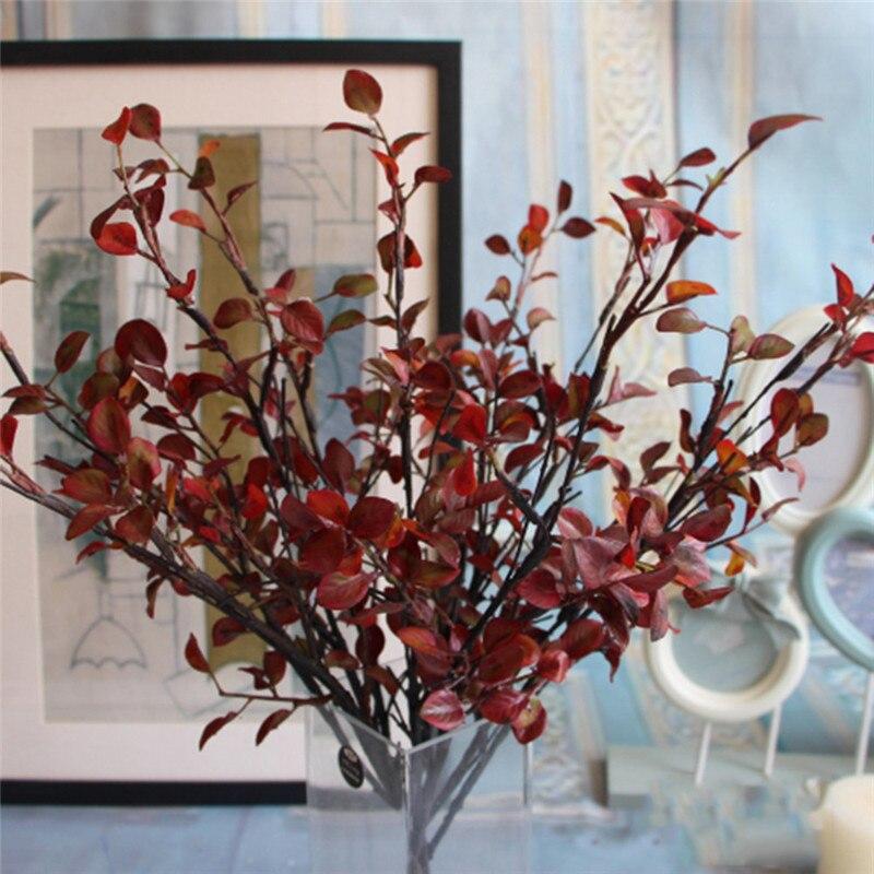1 unids 50 cm artificial hojas rojas de plástico secas ramas de plantas diy hous