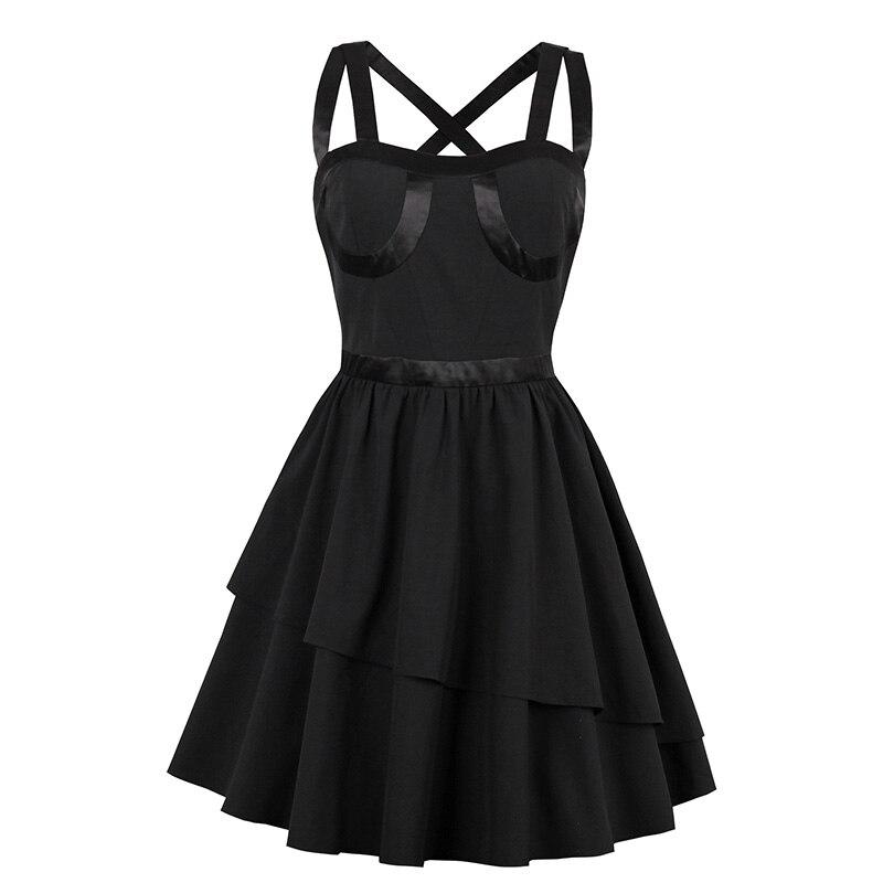 Retro Apparel Store Sisjuly 2017 Summer Female Party Dress Black Dresses Strapless Ball Gown Vintage Gothic Dress Summer Retro Spaghetti Strap Dress