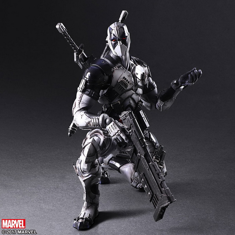 PLAY ARTS 27cm Marvel X men Deadpool X FORCE Grey PVC Action Figure Model Toys