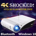 Windows 10 Proyector de vídeo 4 K LED 3D Proyector DLP Hogar con Bluetooth WIFI 2500 Lúmenes con HDMI, USB, VGA, AV, Entrada Ethernet RJ4