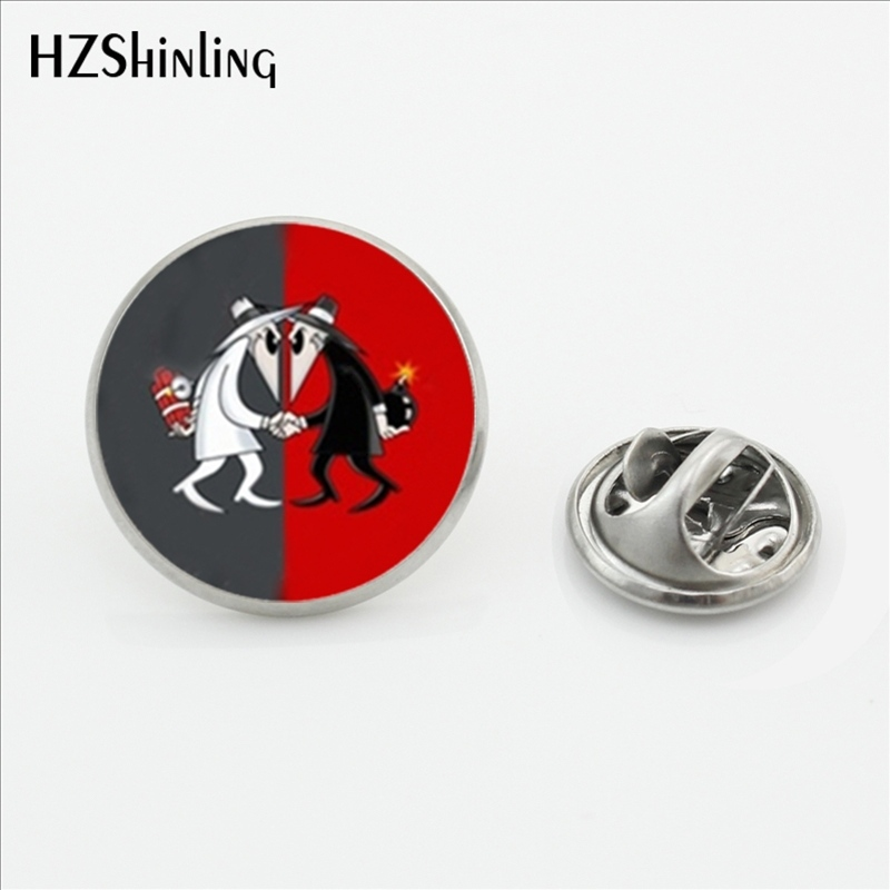 2017 New Arrived Espionage Lapel Pins Handmade Round Secret Agent Brooch Shirt Stainless Steel Collar Pin For Men Wholesale ...