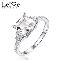 Leige Jewelry Natural White Topaz Ring Square Cut 925 Sterling Silver Gemstone Rings for Women Anniversary Gift Fine Jewelry