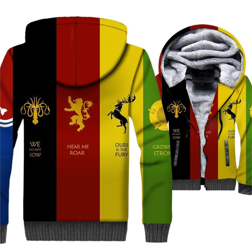 2018 Autumn Winter Hoodies For Men 3D Printed Clothing Jacket Game Of Thrones Men's Sweatshirts Hip Hop Hoddie Male Jackets Tops