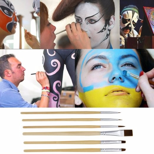6 st / mycket makeup borstar Halloween Face Body Paint Oljemålning Art Cosmetic Make Up Set Party Fancy Dress Paint brush