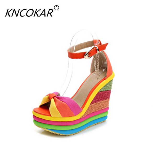cfe565ef0e9 2018 New Summer Sexy Bohemia Casual Rainbow Peep Toe Platform Sandals For  Womens Wedges Sandalias Plataforma Shoes High Heels