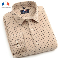 LANGMENG  Men's Dress Shirt Brand 2016 Tops Mens Slim Fit Blouse Long Sleeve Fashion casual Men Shirts Polka Corduroy Dot Shirts