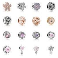 16 Phong Cách 925 Silver Charm Hạt Rose gold/bạc Hollow Hoa Phù Hợp Pandora Charm Bracelet và Vòng Đeo Tay Phụ Nữ Diy đồ trang sức
