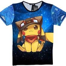 2017 Hot Pokemon Go T shirts Pikachu Charizard Anime Cartoon 3D Pain Tshirts Summer T shirts
