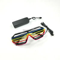 2016 New Kind Six Colors Multicolor Flashing EL Wire Fashion Shutter Shaped Glasses LED Glasses For