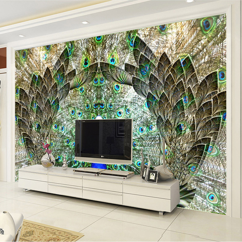 Custom photo wall paper rolls peacock open screen 3d large for Custom photo mural
