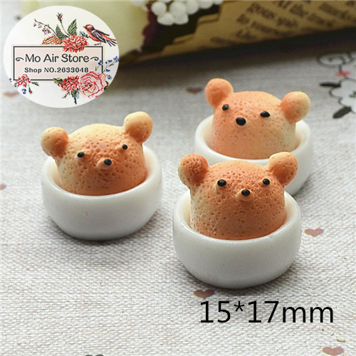Bear Cake 10PCS 15x17mm Resin Flatback Cabochon Miniature Food Art Supply Decoration Charm Craft