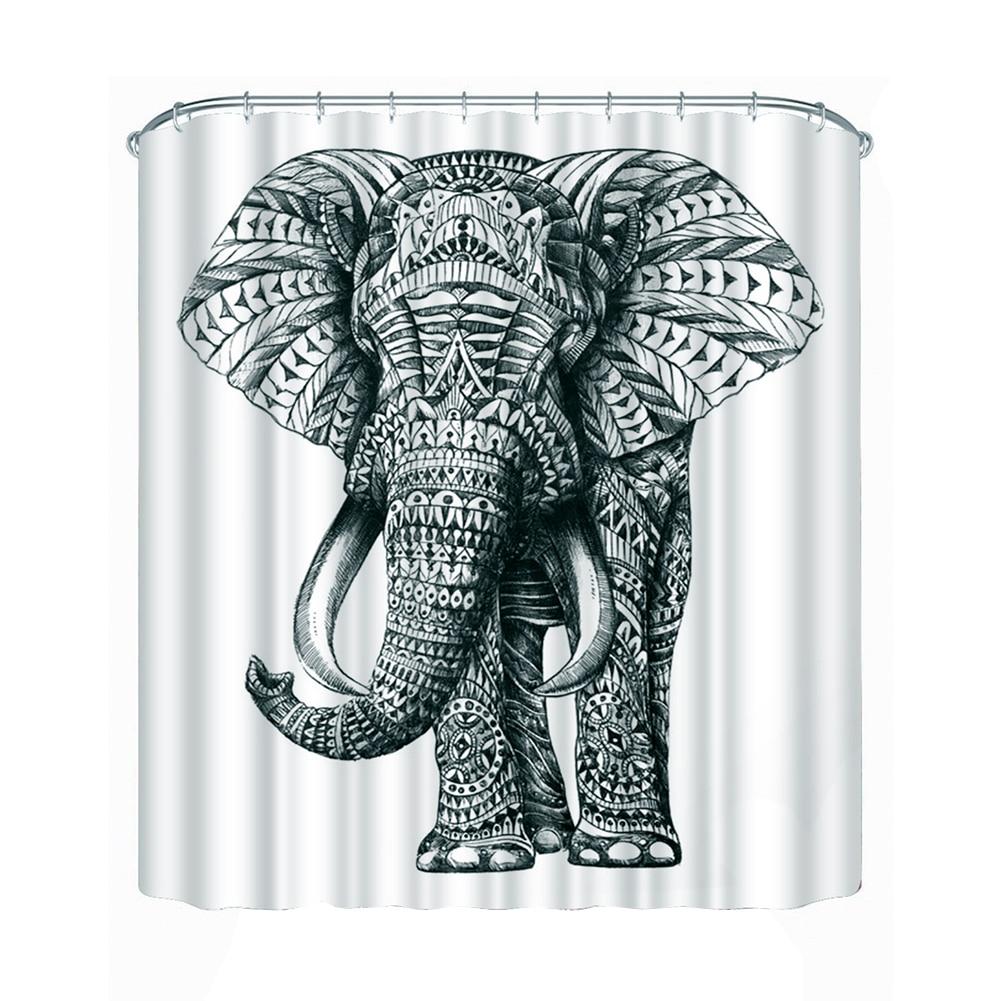 3D Elephant Shower Curtain Bathroom Waterproof Curtain Polyester Fabric Bath Curtain 180cm * 180cm/ 180cm * 200cm
