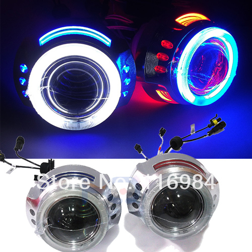2pcs x 3.0 inch Projector Lens CCFL Angel Eyes 35W HID Bi-xenon Double Headlight For H1 H3 H7 H11 9005 9006 2 5inch bixenon projector lens with drl day running angel eyes angel eyes hid xenon kit h1 h4 h7 hid projector lens headlight