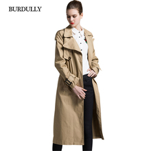 цена BURDULLY Fashion England 2019 Women Spring Cotton Trench Coat Ladies Business Outerwear Long Trench para mulheres inverno quente онлайн в 2017 году
