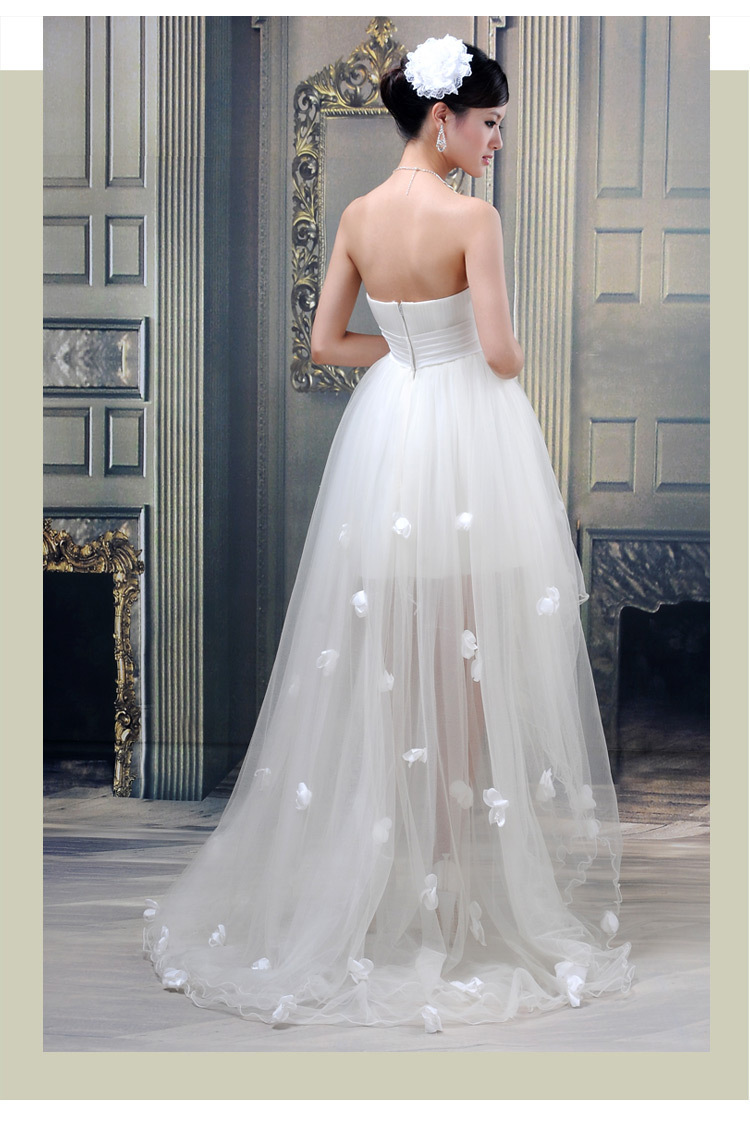 6939dda7c28 White Short Front Long Back Wedding Dress Tulle Appliques Strapless Bow  High Low Vestido De Novia Off the Shoulder Asymmetrical-in Wedding Dresses  from ...