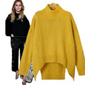 Women Sweater And Pullover Irregular Hem Trendy Knitted Sweater Femme Solid Sweater Turtleneck Pullover Sweater Plus Size 3XL
