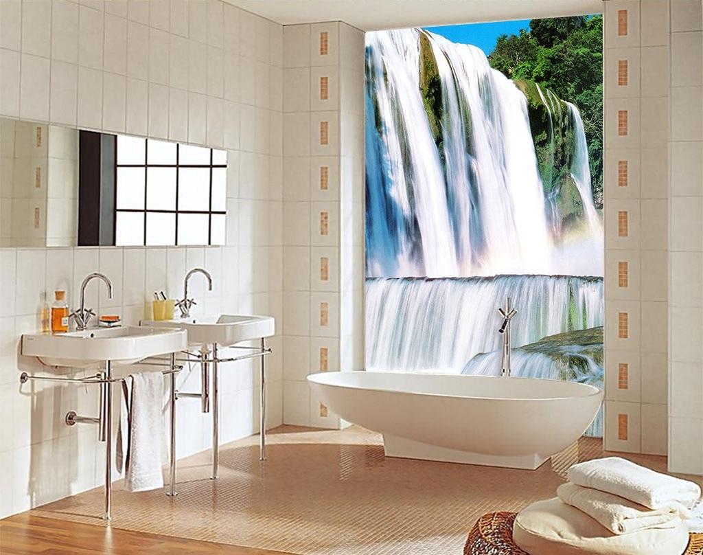 Large 3D Wall Stickers Waterfalls Shower Bathtub Art Wall Mural ...