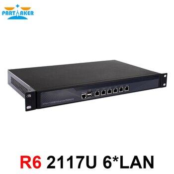 Partaker R6 Intel 1037U Dual Core 1.8GHz 1U Rack Ears Case Hardware Firewall with 6* Intel 82583V Gigabit Ethernet 1