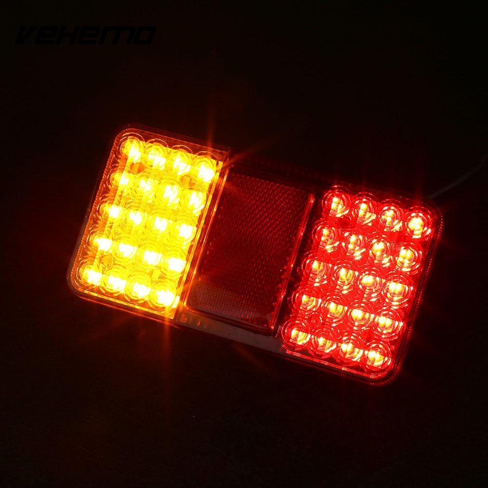 Vehemo 12V 40 LED Truck Trailer Rear Tail Light Indicator Turn Signal Lamp Taillight 12v 3 pins adjustable frequency led flasher relay motorcycle turn signal indicator motorbike fix blinker indicator p34