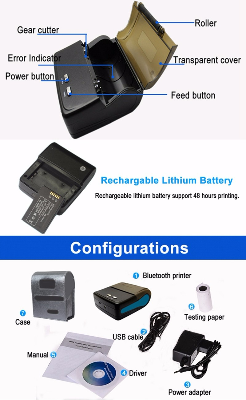 80mm Portable Bluetooth Mobile Thermal Printer With Bluetooth SDK IMP011 (10)