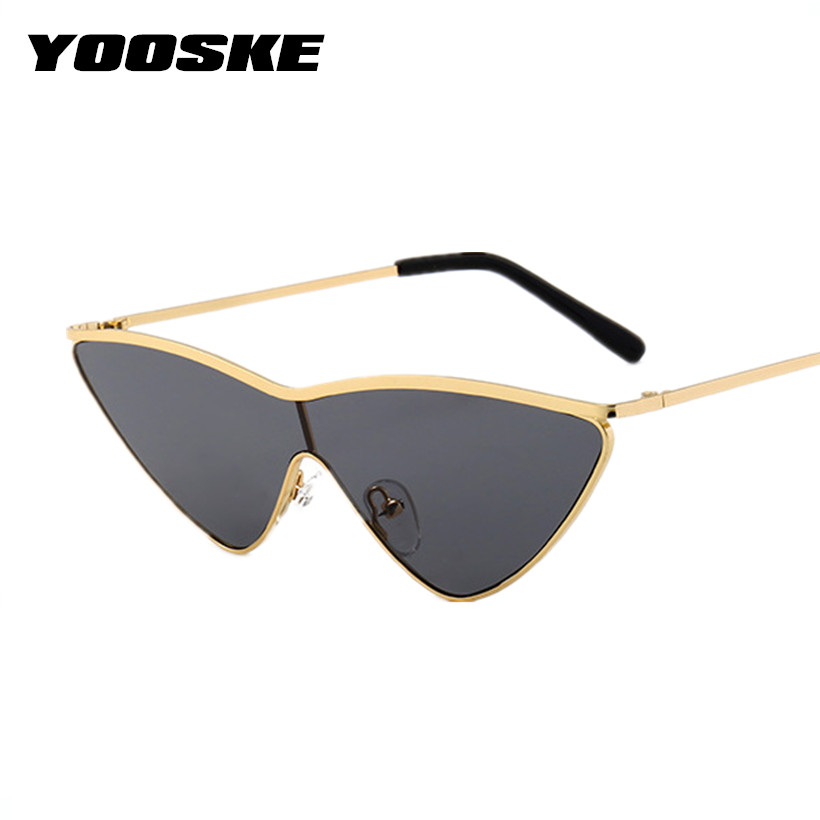YOOSKE Vintage Cat Eye Sunglasses Women Men Brand Small Triangle Sun Glasses Fashion Color Female Glasses Metal Frame UV400