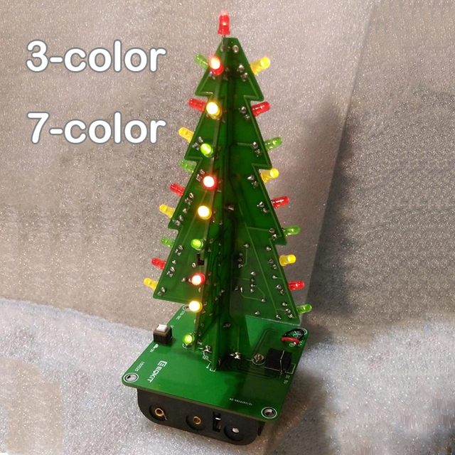 Good 7 Color / 3 Color Three Dimensional 3D Christmas Tree LED DIY Kit Red/