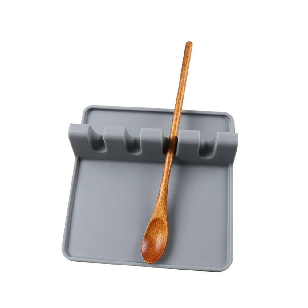 porte cuillere en silicone pour ustensiles de cuisine repose ustensile louche tapis de fourchette resistant a la chaleur vert gris noir cuisine