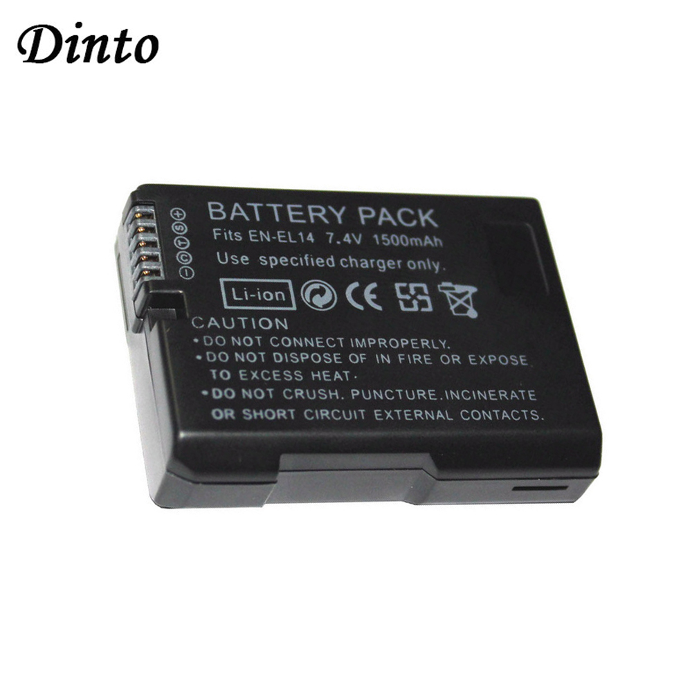 Dinto 1pc 1500mAh EN-EL14 EN-EL14A ENEL14 Li-ion Camera Battery Pack for Nikon D5300 D5200 D5100 D3200 D3100 D3300 EN EL14