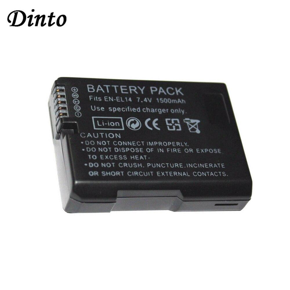 Dinto 1pc 1500mAh EN-EL14 EN-EL14A ENEL14 Li-ion Batterie pour Appareil Photo Nikon D5300 D5200 D5100 D3200 D3100 D3300 EN EL14