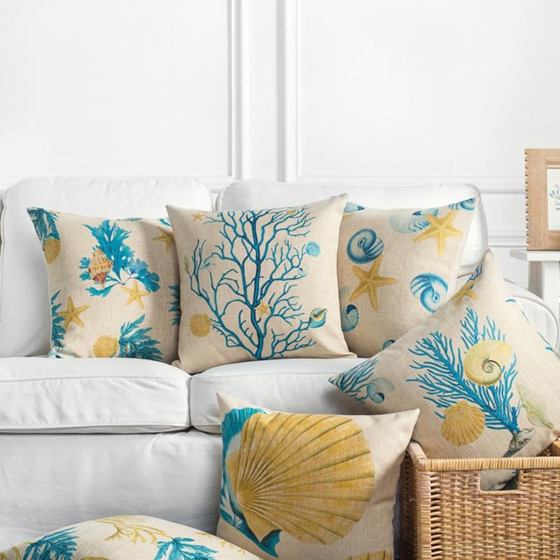 Wholesales Linen Pillow Case Cushion Cover Yellow Blue Mediterranean Style Coral Sea Shell Home Decorative Pillow Case Almofadas
