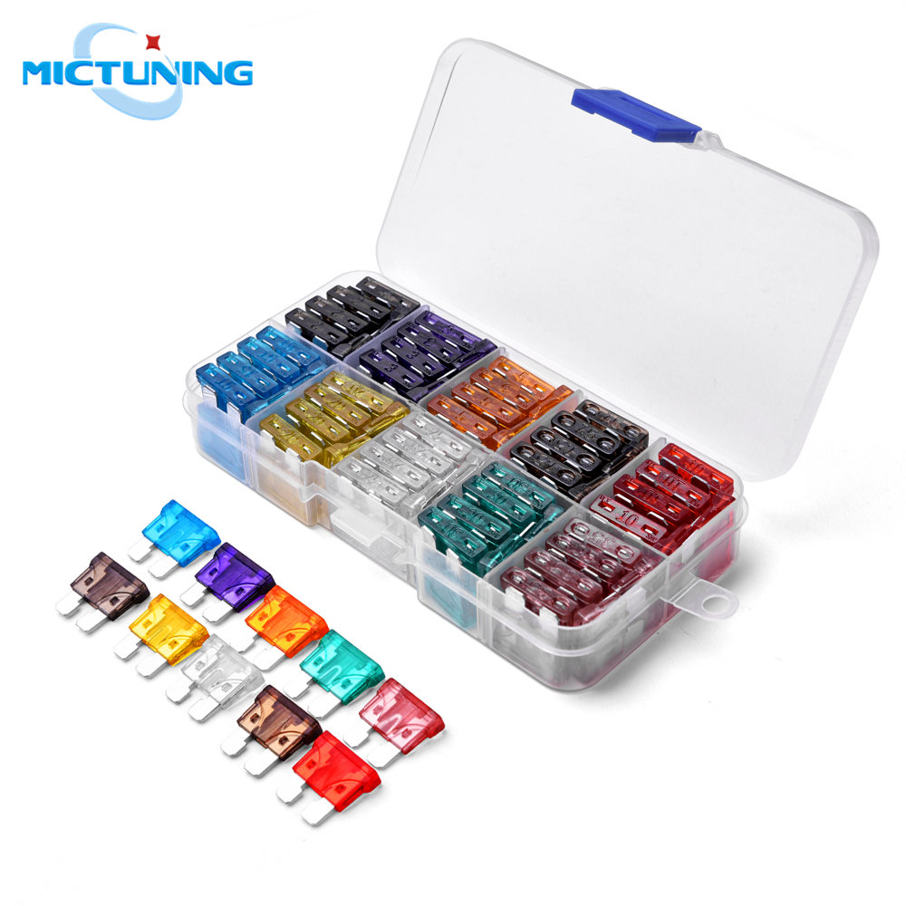 MICTUNING 100pcs ATC ATO Assorted Standard Blade Fuse Assortment Set Car Truck SUV Boat Automotive Accessories