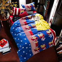 Cartoon Style Football Bedlinens High Quality Egyptian Cotton Fabric Twin Queen King Size Duvet Cover Set