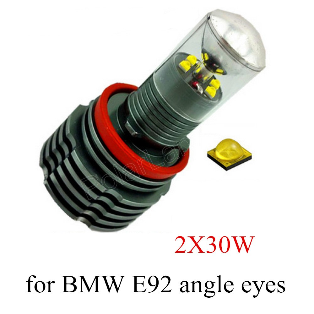 Hot H8 LED ange yeux marqueur ampoule pour BMW E92 voiture lumière lampe auto 2X30 W 2 pièces meilleur prix vente
