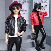 2018 mädchen Falsche Leder Kleidung Set Mode Mit Kapuze Buchstaben Gurtband Gedruckt Kleidung Anzug Für Kinder Mädchen 2018 Frühjahr Neue
